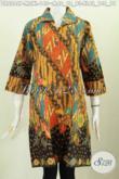 Batik Dress Istimewa Motif Klasik, Pakaian Batik Wanita Muda Dan Dewasa Karir Aktif Proses Printing Lengan Model Opneisel Harga 140K [DR6246P-M]