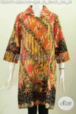 Baju Batik Wanita Masa Kini, Hadir Dengan Desain Berkerah Berpadu Lengan Opneisel Untuk Tampil Lebih Modis Dan Elegan [DR6247P-L]