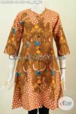 Busana Batik Santai, Pkaaian Batik Wanita Terkini Desain Dress Tanpa Krah, Bahan Halus Proses Printing Ttampil Trendy Dan Bergaya [DR6263P-S]