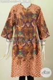 Sedia Baju Batik Online, Dress Batik Solo Halus Desain Terkini Tanpa Kerah Cocok Untuk Jalan-Jalan Harga 150K [DR6267P-L]