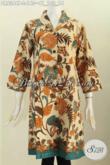 Batik Dress Modis Dan Elegan, Baju Batik Solo Halus Motif Bunga Model Kerah Langsung Bahan Adem Proses Printing Hanya 140K [DR6344P-L]