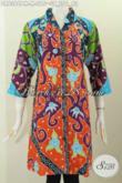 Busana Batik Solo Istimewa, Jual Pakaian Batik Halus Desain Dress Kerah Langsung Spesial Untuk Wanita Muda Bahan Halus Dan Mewah Harga 200 Ribuan [DR6366PM-M]