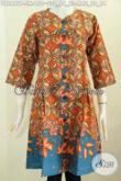 Koleksi Terkini Baju Dress Tanpa Krah Pakai Kancing Depan, Busana Batik Solo Halus Motif Bagus Proses Printing Hanya 100 Ribuan [DR6447P-S , M]