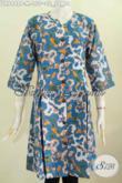 Baju Batik Terusan Untuk Wanita, Dress Batik Modis Tanpa Krah Pakai Kancing Depan Bahan Adem Tampil Mempesona [DR6448P-M]