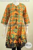 Koleksi Terkini Baju Batik Dress Tanpa Krah, Busana Batik Modis Kancing Depan Bahan Adem Nyaman Di Pakai Sehari-Hari [DR6449P-M]