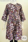 Pusat Update Fashion Batik, Jual Dress Batik Istimewa Buatan Solo Bahan Halus Model Tanpa Krah Kancing Depan Harga 150K [DR6455P-L]