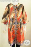 Baju Batik Dress Motif Bagus Banget Bikin Penampilan Lebih Berkharisma, Baju Batik Solo Masa Kini Model Tanpa Krah Pake Kancing Depan Hanya 100 Ribuan [DR6456P-XL]