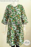 Dress Batik Warna Hijau, Pakaian Batik Solo Modern, Produk Baju Batik Berkelas Khas Jawa Tengah Exclusive Baut Wanita Dewasa [DR6463P-XL]