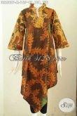 Baju Batik Dress Motif Klasik Model Terbaru Kerah Shanghai Kotak Proses Printing, Cocok Untuk Seragam Kerja Kantoran [DR6568P-M]