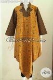 Dress Batik Untuk Acara Formal, Pakaian Batik Wanita Model Kerah Shanghai Kotak Motif Klasik Proses Printing, Cocok Juga Buat Ke Kantor [DR6571P-L]