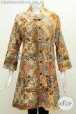 Koleksi Terkini Dress Batik Solo Halus Model Kerah Miring, Baju Batik Kerja Wanita Karir Untuk Tampil Elegan Dan Bergaya [DR6599P-L]
