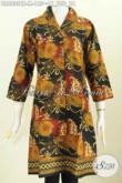 Baju Batik Wanita Keren, Dress Batik Kerah Langsung Motif Mewah Proses Cap Tulis Untuk Kerja Dan Jalan-Jalan Harga 185K [DR6805CT-M]