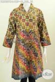 Dress Batik Wanita Kerah Langsung Ukuran L, Baju Batik Wanita Kerja Kantoran Untuk Penampilan Lebih Gaya Dan Modis [DR6807CT-L]