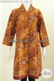 Baju Batik Dress Nan Istimewa, Baju Batik Wanita Kerja Modern Buatan Solo Asli Proses Cap Tulis Model Kerah Langsung harga 185K [DR6808CT-L]