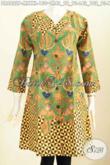 Baju Batik Wanita Terusan, Dress Batik Model Kerah V Motif Terkini Proses Printing, Cocok Untuk Seragam Kerja Dan Busana Kondangan Tampil Menawan [DR6822P-L]