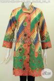 Pakaian Batik Elegan Buat Cewek, Baju Kerja Batik Wanita Modis, Dress Batik Printing Klasik Warna Modern Harga 150K Pake Kerah Miring [DR6878P-XL]