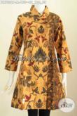 Batik Dress Klasik Nan Istimewa, Pakaian Batik Solo Halus Model Kerah Miring Motif Belakang Sama Dengan Bagian Kanan Trend Mode 2017 [DR7026P-M]