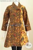 Dress Batik Kerah Miring, Baju Batik Wanita Untuk Ke Kantor, Model Kerah Miring Motif Klasik Bahan Adem Proses Printig Harga 150K [DR7029P-M]
