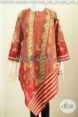 Batik Dress Merah Keren Model Taplak, Busana Batik Motif Slarak Proses Printing Dengan Resleting Belakang, Pas Untuk Ke Pesta [DR7122P-M , L , XL]