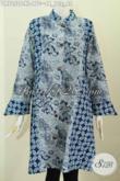 Batik Dress Wanita Dewasa Model Kerah Shanghai Kombinasi 2 Motif Untuk Kerja Dan Acara Resmi [DR7252C-XL]