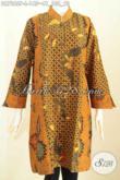 Baju Batik Wanita Modern, Dress Batik Elegan Dari Solo Model Kerah Shanghai Kombinasi 2 Warna Bahan Halus Nyaman Di Pakai Motif Printing 100 Ribuan [DR7262P-L]