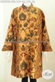 Koleksi Terkini Baju Batik Wanita Gemuk, Busana Batik Big Size 3L Nan Istimewa Kombinasi 2 Warna Dengan Kerah Shanghai, Cocok Buat Kerja [DR7272P-XXL]