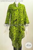 Batik Dress Halus Bahan Paris, Pakaian Batik Solo Terkini, Produk Baju Dress Batik Istimewa Model Taplak Proses Kombinasi Tulis, Tampil Mempesona [DR7321BTPR-M]