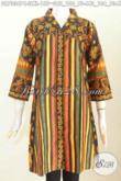 Dress Batik Klasik Motif Sinaran, Pakaian Batik Elegan Masa Kini Proses Printing Desain Kerah Langsung, Cocok Untuk Seragam Kerja [DR7334PC-XL]