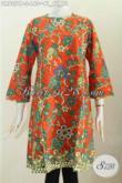 Batik Dress Trendy Tanpa Krah, Busana Batik Solo Model Resleting Belekang Motif Unik Harga 160K [DR7351P-S]