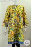 Batik Dress Modern Tanpa Krah, Pakaian Batik Solo Masa Kini Bikin Penampilan Terlihat Beda, Di Lengkapi Resleting Belakang [DR7359P-M]