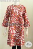 Batik Dress Wanita Muda, Busana Batik Solo Halus Kwalitas Istimewa Pake Resleting Belakang Tanpa Krah, Penampilan Lebih Gaya [DR7360-M]