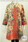 Jual Aneka Baju Batik Kerja Wanita Karir, Dress Batik Kerah Miring Motif Mewah Proses Printing Bahan Halus, Penampilan Lebih Sempurna [DR7463P-XXL]
