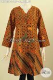 Pakaian Batik Kerja Wanita Muda Dan Dewasa, Busana Batik Elegan Klasik Proses Printing Model Kerah V, Menunjang Penampilan Lebih Stylish [DR7605P-L]