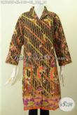 Koleksi Terkini Dress Kerah Langsung Bahan Batik Printing Halus Khas Solo Jawa Tengah Kwalitas Istimewa Harga Biasa [DR7855P-XL]