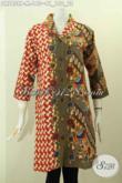 Baju Batik Kombinasi Untuk Wanita Kantoran, Dress Batik Berkelas Wanita Rumahan, Pakaian Batik Istimewa Kerah Langsung Bikin Penampilan Sempurna [DR7858P-M]