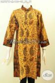 Jual Online Batik Terusan Untuk Wanita Muda, Dress Batik Kerah Shanghai 2 Motif Bahan Halus Proses Printing, Tampil Lebih Anggun [DR7871P-M]