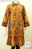 Baju Batik Kerja Wanita Muda, Busana Batik Solo ELegan Model Terusan, Dress Batik 2 Motif Pake Krah Shanghai Hanya 160 Ribu [DR7873P-M]