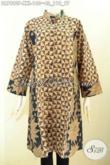 Dress Batik Jumbo, Pakaian Batik Elegan Krah Shanghai Halus Proses Printing Dual Motif Klasik, Cocok Buat Acara Formal [DR7890P-XXL]