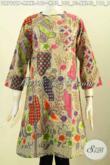 Baju Batik Terusan Motif Unik, Produk Pakaian Batik Solo Keren Bahan Halus Proses Printing Model Tanpa Krah Dengan Resleting Depan Harga 160K [DR7921P-M]