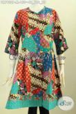 Batik Dress Tanpa Krah, Busana Batik Motif Kombinasi Bahan Halus Proses Printing Paki Kancing Depan, Modis Buat Kerja Kantoran [DR7932P-M]