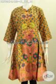 Baju Atasan Batik Model Terusan Tanpa Krah, Dress Batik Kancing Depan Motif Bagus Proses Printing Hanya 100 Ribuan [DR7934P-L]