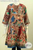 Agen Busana Batik Paling Up To Date, Sedia Dress Batik Modern Pilihan Wanita Karir Untuk Tampil Gaya Dan Mempesona [DR7936P-L]