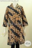 Dress Batik Solo Istimewa, Baju Batik Printing Model Krah Langsung Harga 155K [DR7984P-L]