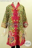 Jual Busana Batik Jumbo, Baju Batik Big Size Spesial Untuk Wanita Gemuk Model Krah Langsung Motif Mewah Proses Printing Hanya 140K [DR7997P-XXL]