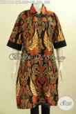 Model Baju Batik Wanita Badan Gemuk, Dress Batik Jumbo Motif Klasik Printing Dengan Krah Bulat Dan Plisir Polos, Pas Baut Kerja Kantoran [DR8114P-XXL]