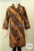 Model Baju Batik Dress Mewah Buatan Solo Motif Klasik Tulis Asli, Pakaian Batik Istimewa Dengan Krah Shanghai Dan Full Furing, Penampilan Makn Sempurna [DR8160TF-XL]