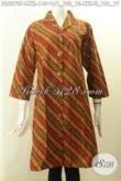 Model Baju Batik Klasik Parang, Busana Batik Dress Halus Desain Krah Langsung Buatan Solo Asli Yang Bikin Penampilan Anggun Elegan [DR8270P-L , XXL]