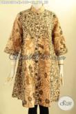 Tunik Batik Dress Kerah Shanghai, Busana Batik Elegan Dan Mewah Motif Bagus Dengan Kancing Depan Dan Lengan 7/8, Cocok Untuk Acara Resmi [DR8563PB-XL]