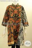 Model Baju Batik Wanita Terbaru, Tunik Dress Batik Elegan Cocok Untuk Kerja Dan Kondangan, Hadir Dengan Kerah Shanghai Resleting Belakang Lengan 7/8 Dan Kantung Dalam Bagian Kanan [DR8658P-L]