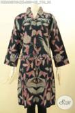 Baju Batik Dress Khas Jawa Tengah, Busana Batik Motif Bunga Nan Keren Bahan Adem Proses Printing Cabut Model Kerah Langsung, Penampilan Lebih Mempesona [DR8683PBF-XXL]